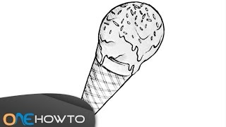 Fun for Kids - How to draw a cartoon ice-cream to color in