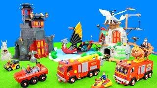 Feuerwehrmann Sam entdeckt die Playmobil Dragons: Alle Spielzeug Drachen & Feuerwehrautos für Kinder