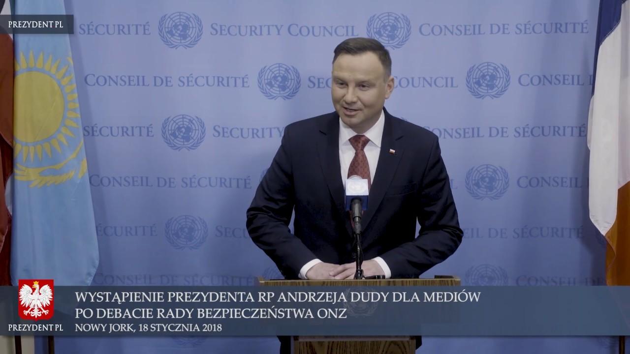 Wypowiedź Prezydenta RP Andrzeja Dudy w Nowym Jorku dla przedstawicieli mediów