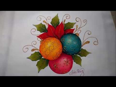 Imagenes De Motivos Navidenos Para Pintar En Tela.Pintura En Tela Navidad Esferas Navidenas Painting Tutorial How To Paint Christmas Balls