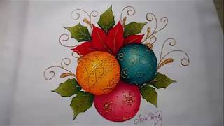 Pintura en tela navidad esferas navideñas, painting tutorial, how to paint christmas balls