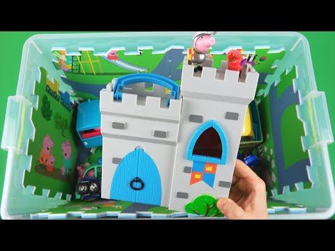 Learn Characters, Vehicles, Colors with Peppa Pig, Superman, Ben & Holly in toys box for Kids