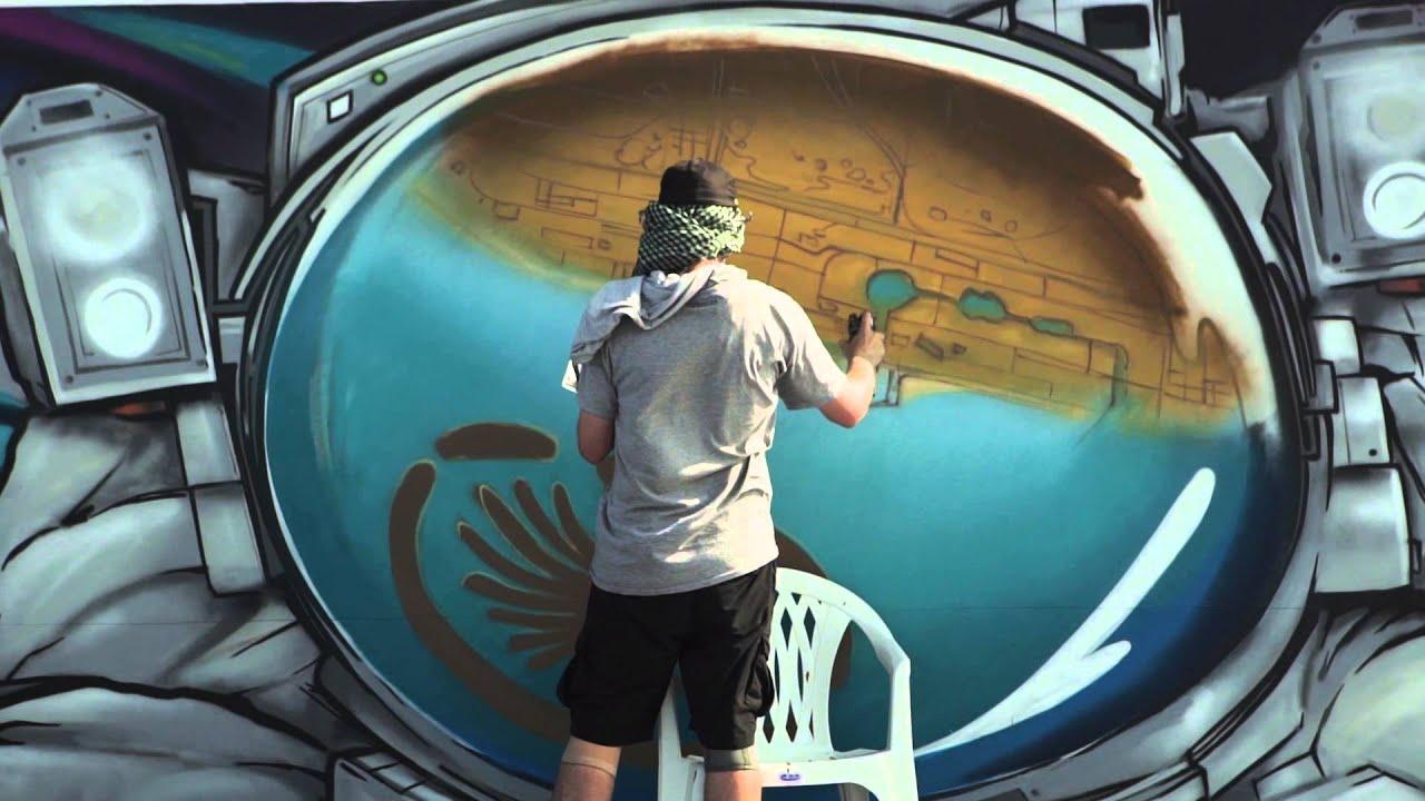 Graffiti wall uae - Ironlak Family At Rehlhatna In Dubai World S Longest Graffiti Scroll Youtube