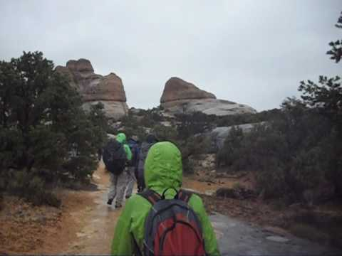 Hiking in the rain in the Needles District of Canyonlands National Park, Utah