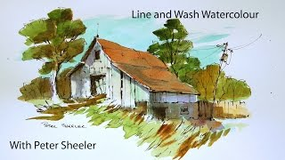 A Line and Wash watercolour tutorial by Peter Sheeler, quick and easy style.