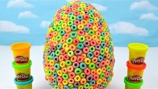 Kids Play Doh Rainbow Dots Fruit Loops Surprise Eggs Giant Candy Egg Mickey Toys Children EggVideos