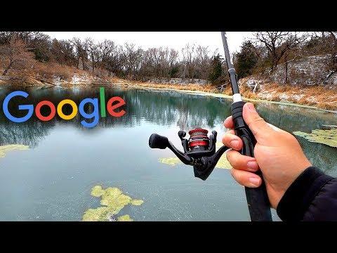 Fishing A HIDDEN Pond W/ GIANT Fish!! -- Google Maps Fishing Challenge