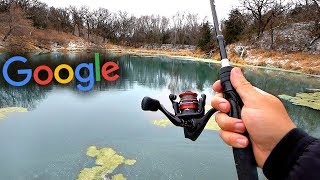 Fishing a HIDDEN Pond w/ GIANT Fish!! -- Google Maps Fishing Challenge