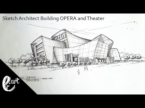 Sketch Architect Building Opera And Theater In The Style Of Zaha Hadid Youtube