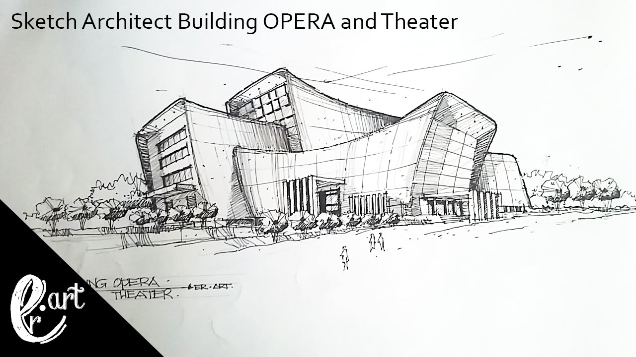 Architecture Buildings Sketch sketch architect building opera and theater || in the style of