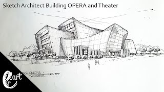 Sketch Architect Building OPERA and theater || in the style of Zaha hadid