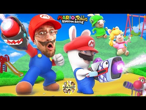 Thumbnail: SUPER HERO MARIO vs. PLAYGROUND RABBIDS Skit! FGTEEV plays Mario + Rabbids Kingdom Battle (Switch)