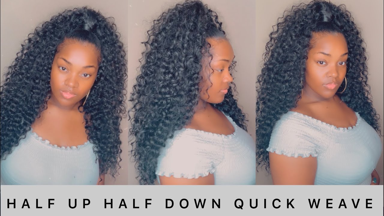 HOW TO HALF UP HALF DOWN QUICK WEAVE   STEP BY STEP TUTORIAL HIGHLY  REQUESTED