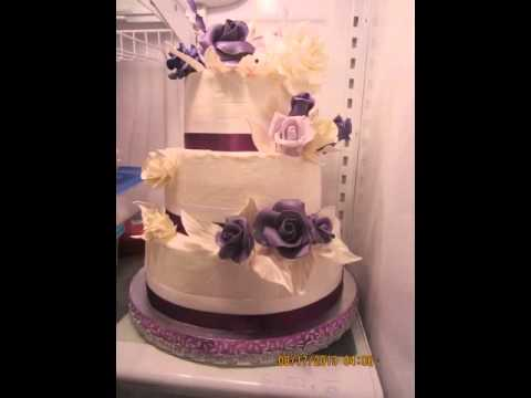 Purple Lavender And White Fondant Gumpaste Flowers On