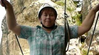 Mireille dans la via ferrata du Liaucous(Gorges de la Jonte juillet 2010)