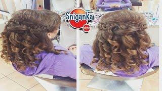 Свадебная прическа с локонами Wedding hairstyle for medium long hair tutorial.