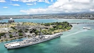 Aerial View Of Oahu Island & Pearl Harbor Naval Base