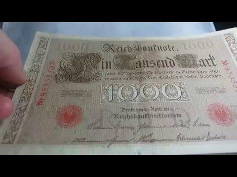 1000 Mark 1910 German States Reichsmark Banknote Bill Paper Money