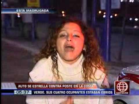 América Noticias: Jóvenes en estado de ebriedad chocaron su vehículo contra un poste en Chorrillos
