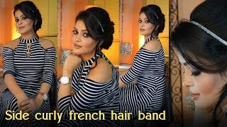 Side Curly French Silver  Hair Band Hair Style | College party hair Bun