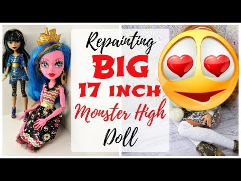 BIG 17'' MONSTER HIGH DOLL REPAINT / 17 INCH / How To Draw Face, Freckles Art Speedpaint Tutorial