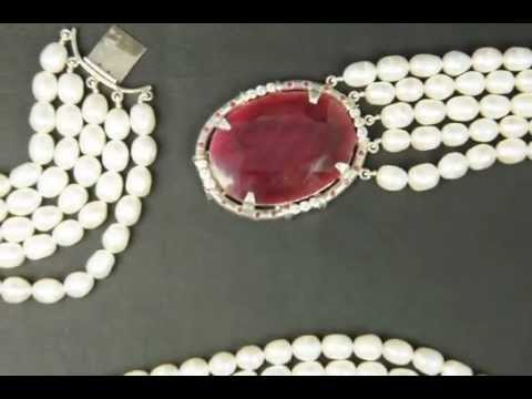 5 Strand Pearl Necklace Ruby Clasp