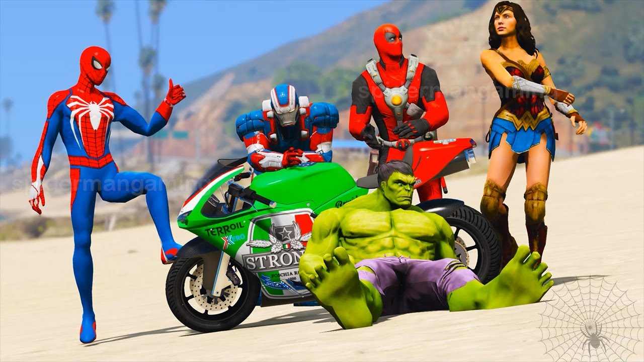Superheroes Spiderman TUBE Impossible Motorcycle Parkour Challenge Iron Patriot - GTA V MODS
