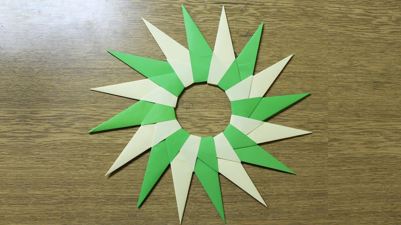 Como hacer una estrella ninja de papel de 16 puntas youtube - Estrellas de papel ...