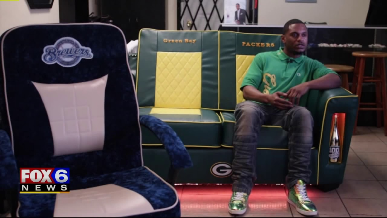 Furniture Maker Created Green and Gold Sofa for Rapper Lil Wayne, a Packers Fan Since Childhood