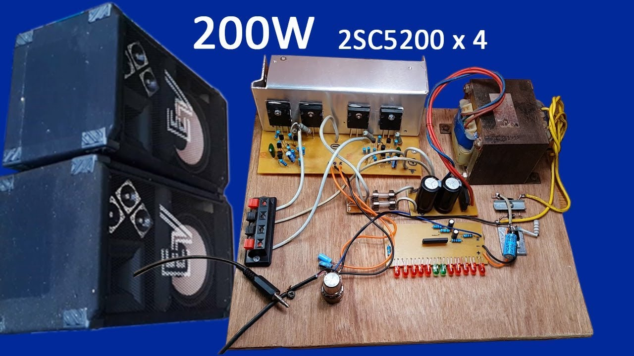 how to make 200w amplifier transistors 2sc5200 x 4 at home power audio amplifier 2sc5200 [ 1280 x 720 Pixel ]