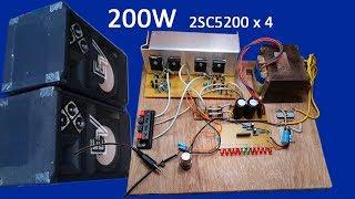 كيفية جعل 200W الترانزستور مكبر للصوت 2SC5200 × 4 في المنزل | السلطة مكبر الصوت 2SC5200