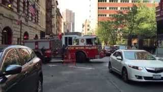 FDNY ENGINE 7, SCOLDING MOTORIST ON PA SYSTEM WHILE RESPONDING, ON DUANE ST. IN TRIBECA, MANHATTAN.