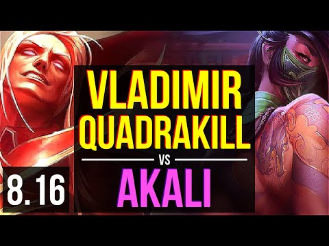 VLADIMIR vs AKALI (MID) ~ Quadrakill, KDA 13/1/1, Legendary ~ Korea Diamond ~ Patch 8.16