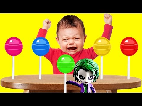 Thumbnail: Bad Baby Crying Learn Colours Because of Joker Lollipops Finger Family Song Collection