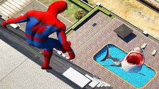 GTA 5 Spiderman Ragdolls - Epic Jumping Into Pool´s (Water Fails/Euphoria Physics)