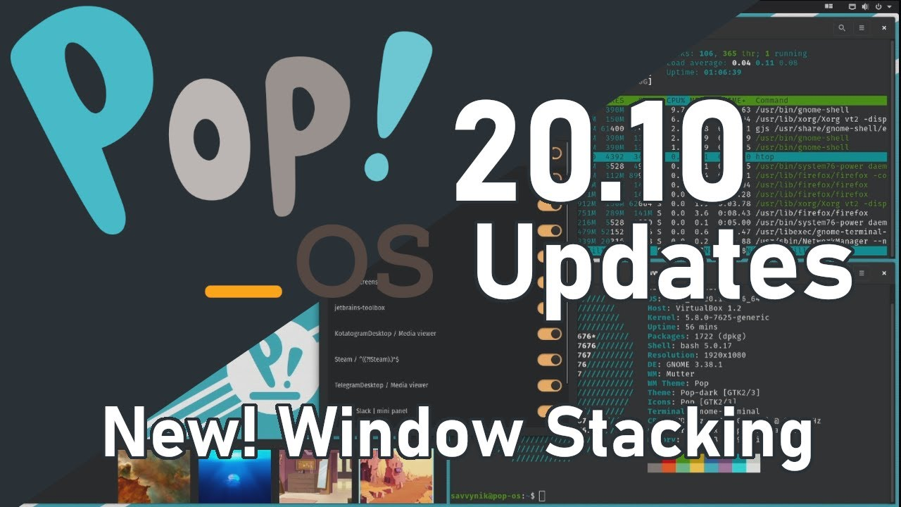 Pop OS 20.10 Linux | NEW UPDATES! with Window Stacking | System 76 [2020]