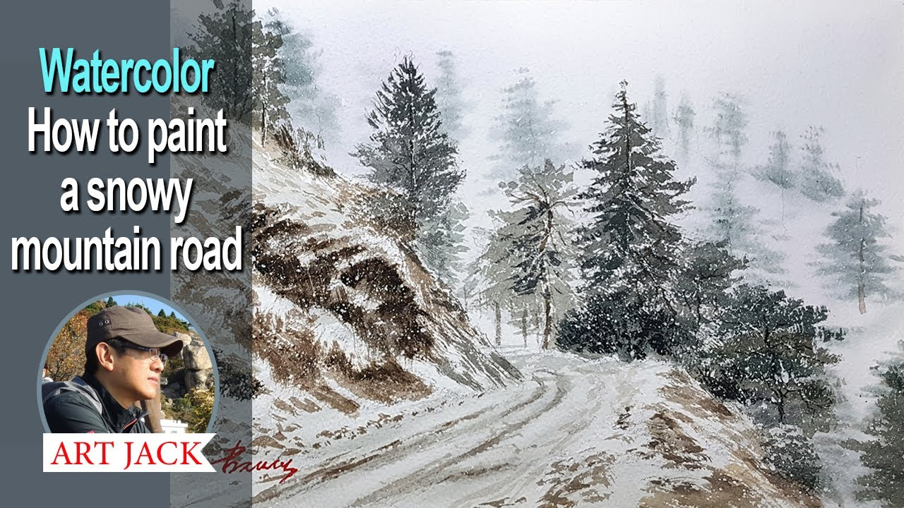 Landscape watercolor | How to paint a snowy mountain road | Easy tutorial [ART JACK]