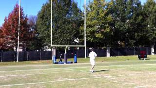 Tossing passes w/the QBs. Hit...