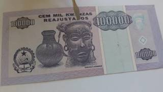 Африка Ангола 100000 кванза 1995 RN 8801819 состояние XF (2) узнай реальную цену продажи банкнот