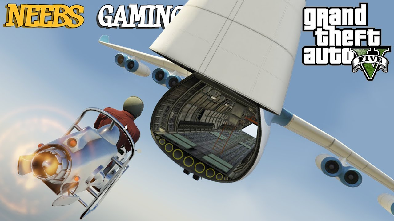 GTA 5 MODS - ULTIMATE CARGO PLANE STUNT!!! (Funny Moments)
