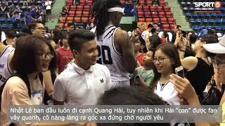 Quang Hải, Văn Hậu trổ tài chơi bóng rổ trước sự cổ vũ của bạn gái