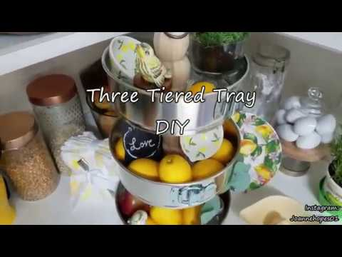 Three Tiered Tray DIY |Made with cheesecake pans |Farmhouse decor