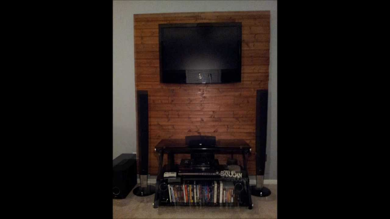 How to make a wooden tv accent wall   YouTube How to make a wooden tv accent wall