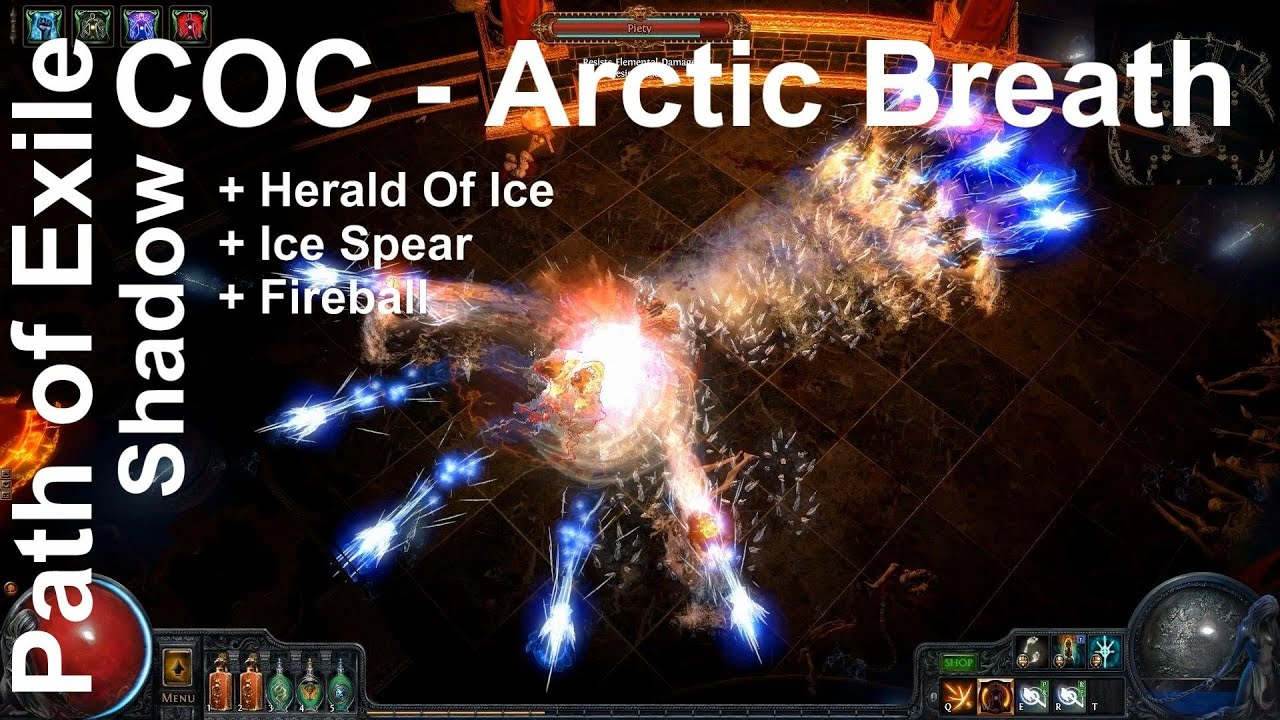 path of exile coc shadow herald of ice arctic breath fireball