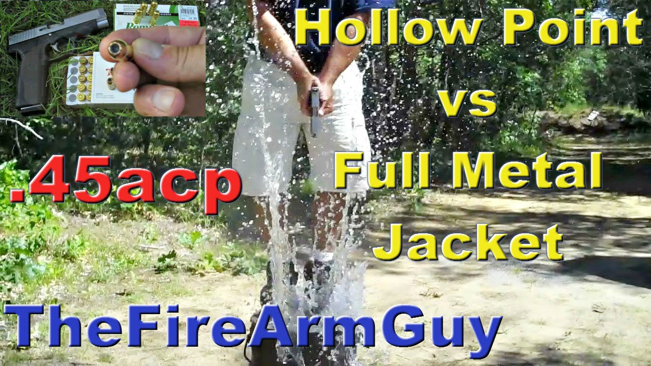 45acp penetration in water (hollow point vs fmj) - thefirearmguy