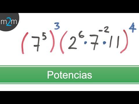 Multiplicación de potencias de números enteros