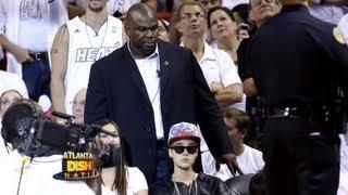 Bieber's HUGE Bodyguard Blocks Miami Heat Game