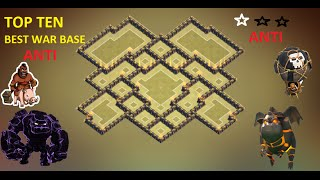 Clash of Clans - Town Hall 9 (Th9) War Base + Defense Replay Anti Gowipe Anti 2 Star