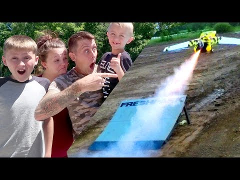 WE MADE IT FLY!! (Never try this) RC Truck Rocket!!