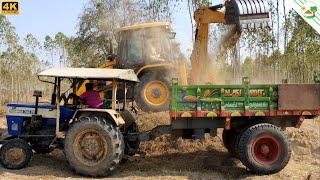 swaraj 744 tractor working Trailer with JCB 3DX machine